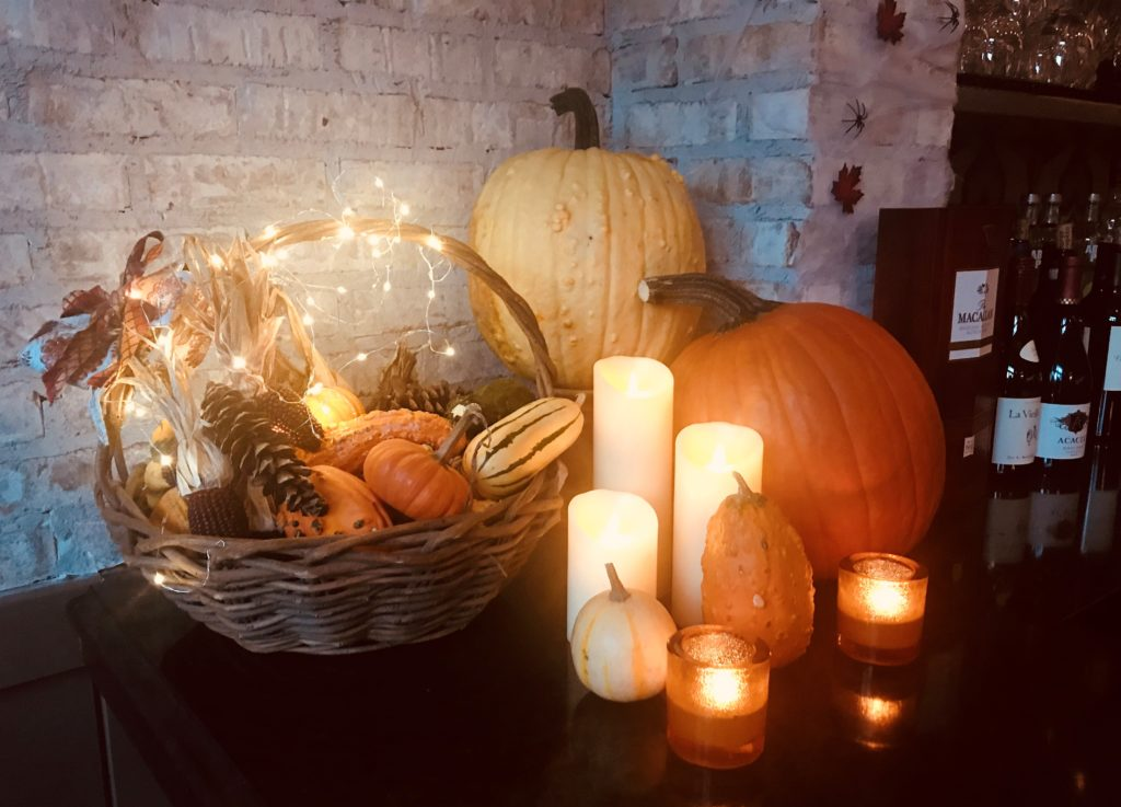 Fall Front Display with Pumpkins and Candles